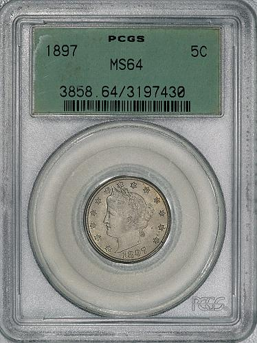 1897 PCGS MS64 Liberty Nickel, nice coin with original color and luster