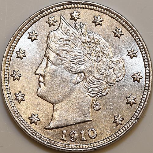 Superb - 1910 Liberty Head V Nickel - Gem BU / MS / UNC - High Grade Coin