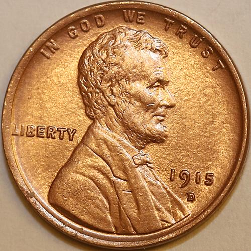 1915 D Lincoln Wheat Cent - Red Gem BU / MS RD / UNC