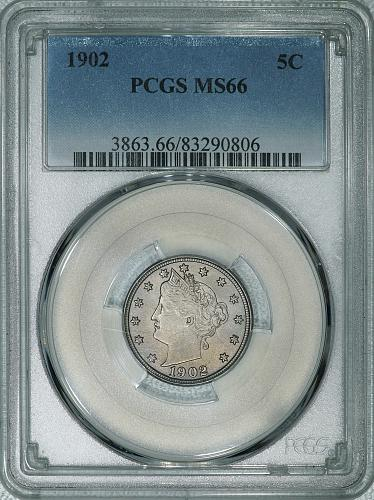 1902 PCGS MS66 Liberty Nickel, nice eye appealing original coin w/ satiny luster
