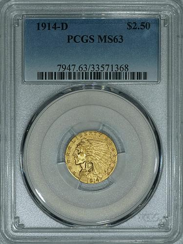 1914-D PCGS MS63 Indian $2.50 gold, SCARCE, nice coin with brilliant luster