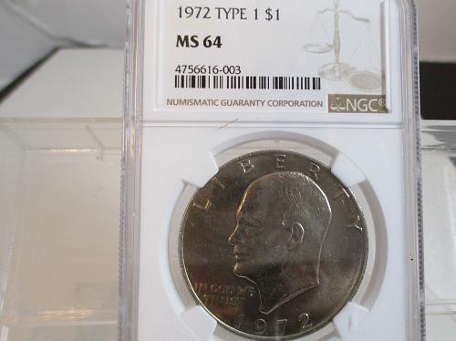 1972 P Eisenhower Dollar: Type 1 - Low Relief Reverse
