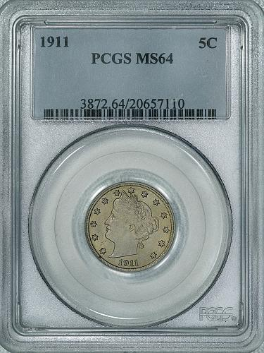 1911 PCGS MS64 Liberty Nickel, decent original looking coin w/ satiny luster