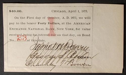 1873 Chicago, Illinois $40 Bond Coupon