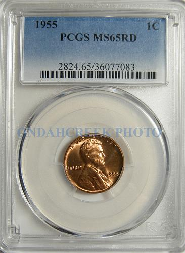 1955 Lincoln Cent PCGS MS-65 RD Cracked Skull Error Coin