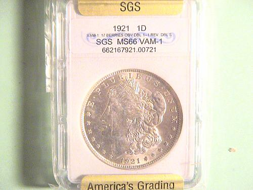 1921 $1 Morgan Dollar VAM- 1: 17 Berries OBV  1--1 REV DBL S