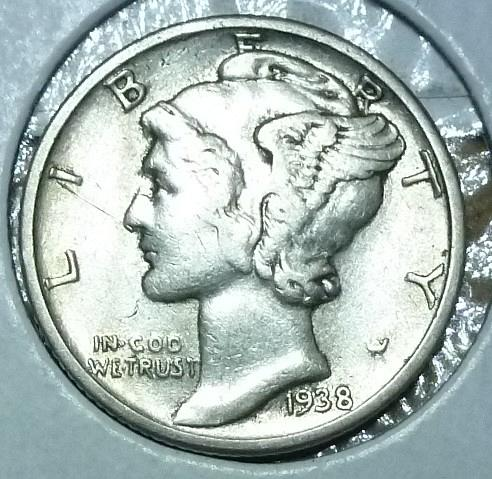 1938-P AU  Mercury Dime About Uncirculated ( 863)