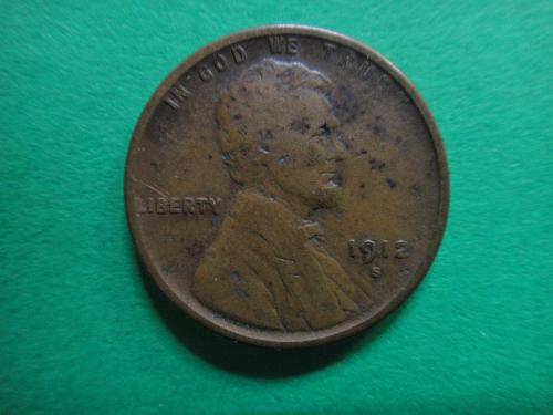 1912-S Lincoln Cent Very Good-8- Has Spots