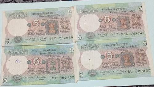 Four  Different sign circulated India notes