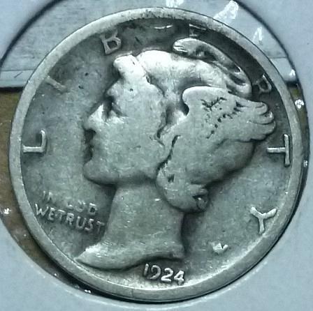 1924-D  Fine Mercury Dime F ( 814 )