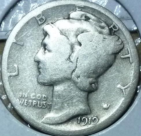 1919-D Very Good Mercury Dime VG Graded (805)