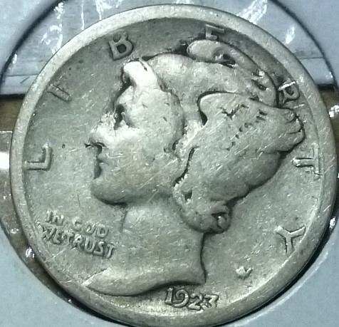 1923-S Very Good Mercury Dime VG Graded (809)