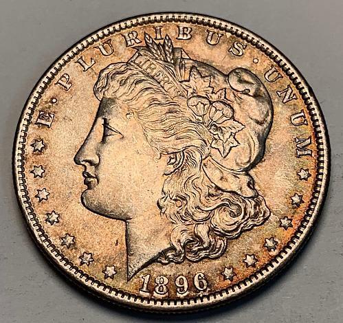 1896 Morgan Silver Dollar Slider UNC [MDL 276]
