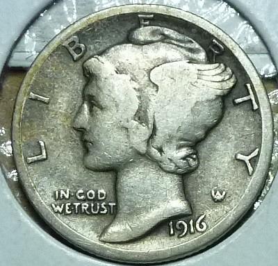 1916-P Very Fine Mercury Dime   ( 821 )