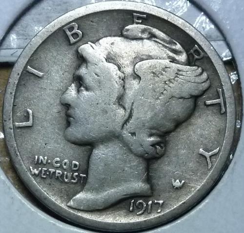 1917-S Very Fine Mercury Dime   ( 823 )