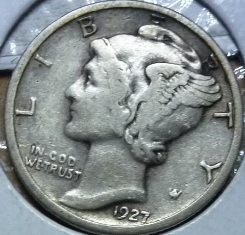 1927-P Very Fine Mercury Dime   ( 827 )