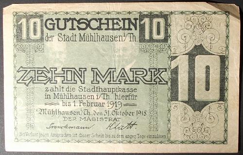 1918 Germany/Muhlhausen 10 Mark Fine