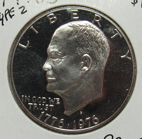 1976 S Proof Eisenhower Dollar: Type 2 - Sharp Design - Delicate Lettering