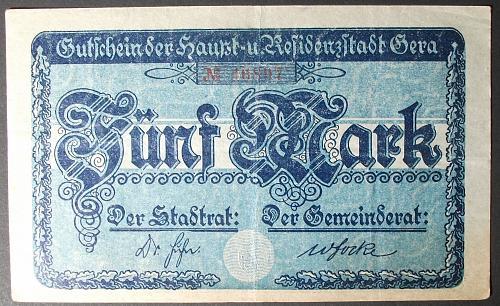 1918 Germany/Gera 5 Marks VF
