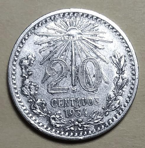 VF 1934 MEXICO SILVER 20 CENTAVOS