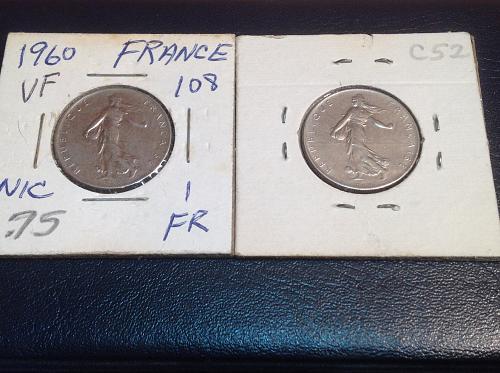 1960 & 1961 France 1 franc