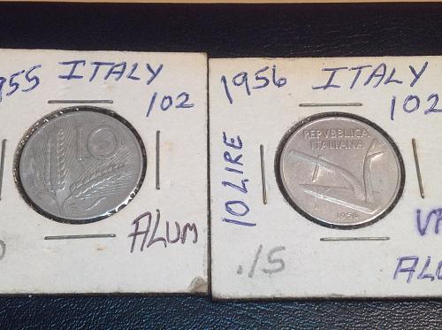 1955 & 56 Italy 10 Lire