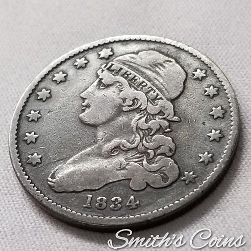 1834 Capped Bust Quarter ~ B-1, R-1 ~ VF