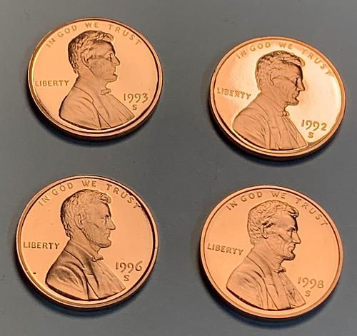 1992-S, 1993-S, 1996-S, and 1998-S Proof Lincoln Memorial Cents [LC 7]