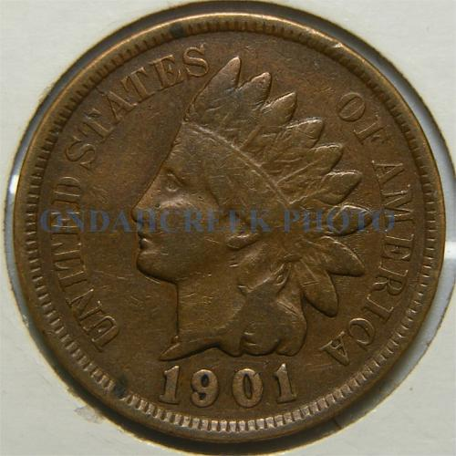 1901 Indian Cent Repunched Date