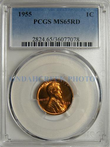 1955 Lincoln Cent BIE Die Break Error PCGS MS-65 RD