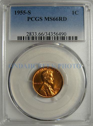 1955-D Lincoln Cent PCGS Error Slab Labeled 1955-S MS66RD