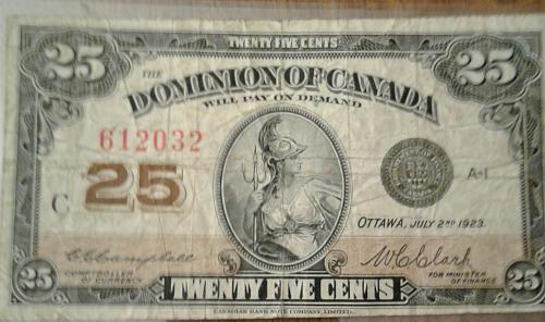 1923 Dominion of Canada 25 Cents Shinplaster Fractional Currency Series C