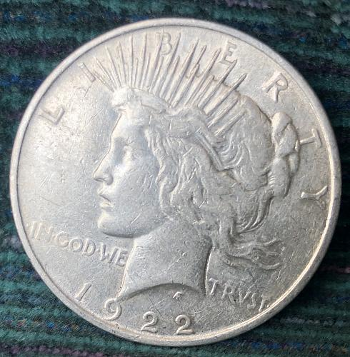 For sale a 1922 Philadelphia Peace silver Dollar