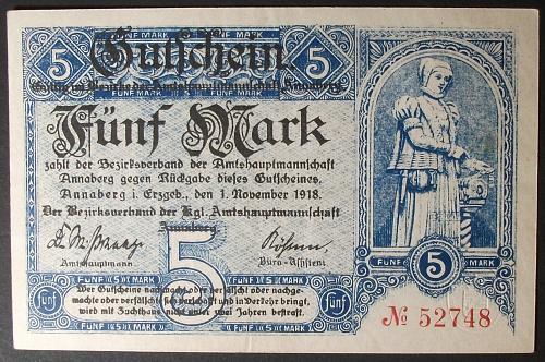 1919 Germany/Annasburg 5 Marks XF