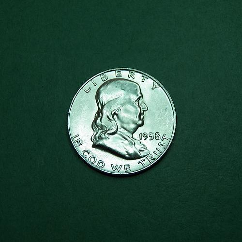 1958 D Franklin Half Dollar Brilliant Uncirculated Coin   o26