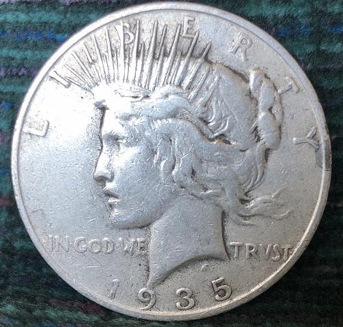 For sale a 1935 San Francisco Peace silver Dollar