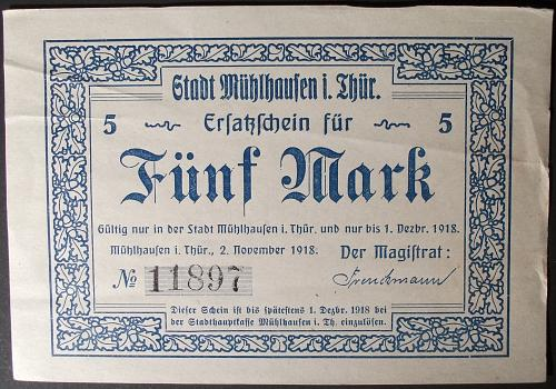 1918 Germany/Muhlhausen 5 Marks VF