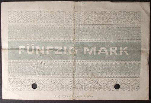 1918 Germany/Segeberg 50 Marks VF