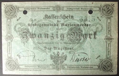 1918 Germany/Marienwerder 20 Mark VF