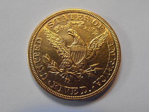 1907 D Gold $5 Liberty Half Eagle AU58 (07D303)