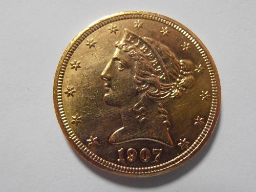 1907 D Gold $5 Liberty Half Eagle (07D301)