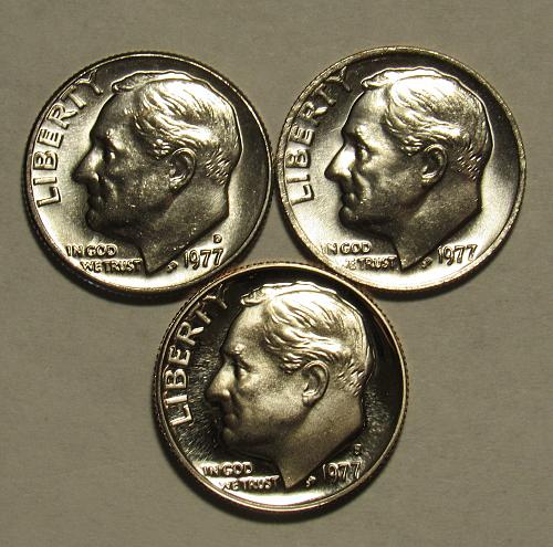 1977 P,D&S Roosevelt Dimes in BU and Proof condition