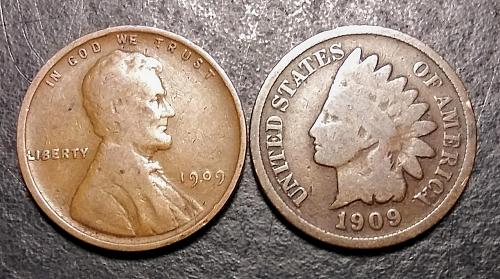 1909 INDIAN HEAD CENT AND 1909 WHEAT CENT