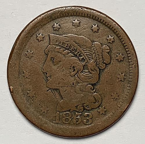 1853 Braided Hair Liberty Head Large Cent [LGC 69]