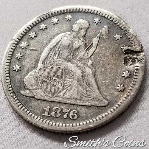 1876 CC Seated Liberty Quarter ~ Net Good ~ Edge Damage