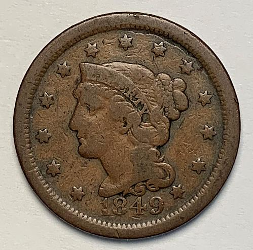 1849 Braided Hair Liberty Head Large Cent [LGC 71]