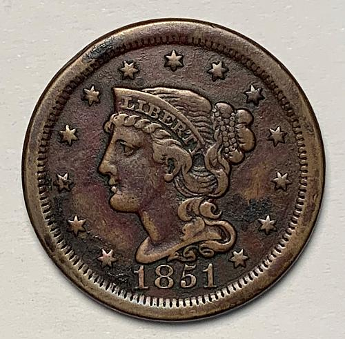 1851 Braided Hair Liberty Head Large Cent F++ [LGC 72]