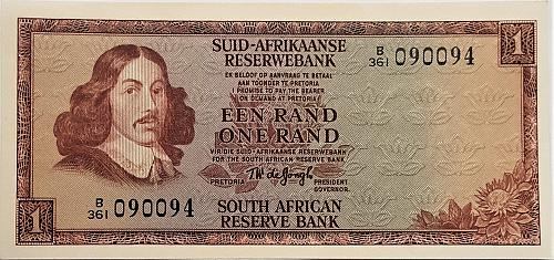 SOUTH AFRICA 1 RAND 1967 / signature 5 WORLD PAPER MONEY