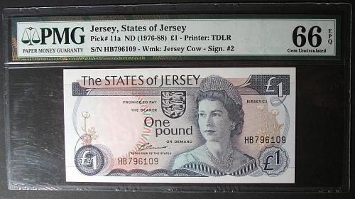 Jersey P11a Pound PMG UNC66EPQ