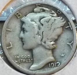 1919-D Very Good Mercury Dime   ( 208)